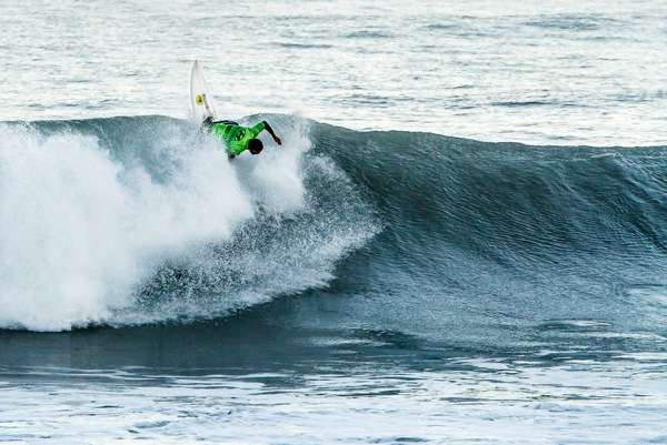Maz Quinn beyond vert on his way to an event win at the Whale Watch Kaikoura Surf Classic.  Pic by Dwayne Fussell